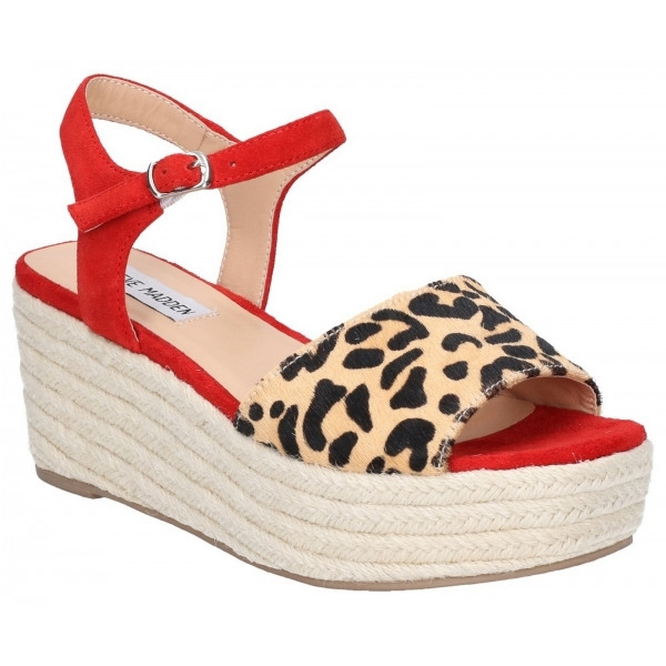 87a0564776 Steve Madden. RABIT Ladies Pony Hair Wedge Heel Sandals Red/Leopard